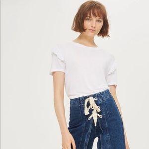 Topshop White Ruffle Frill Sleeve Tee Shirt Size 8